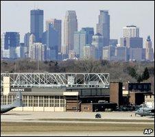 Minneapolis skyline viewed from city airport