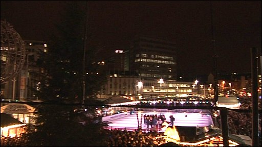 The Christmas tree and ice rink in Old Market Square, Nottingham