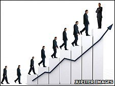 Graphic of men going up steps