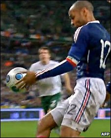 Thierry Henry handled the ball in the build up to France's goal