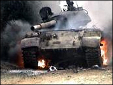 Purported picture of Yemeni army tank on fire published by Houthis