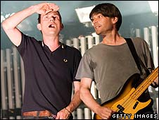 Damon Albarn and Alex James of Blur