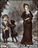 1880: An Edwardian lady waits while her daughter gives an apple to a poor girl