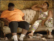 Gabourey Sidibe and Mo'Nique in Precious
