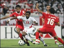 Salem Saad in action for the UAE team