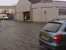 Car caught up in flooding