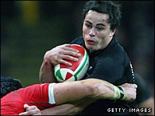 All Blacks winger Zac Guildford  on the attack against Wales