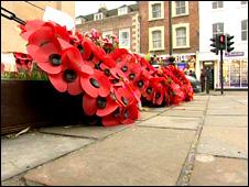 Poppies at Wootton Bassett war memorial