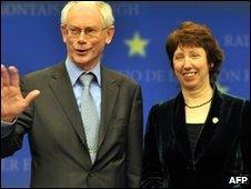 President of the European Council Herman van Rompuy and EU Trade Commissioner Catherine Ashton in Brussels (19 Nov 2009)