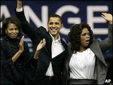 Michelle Obama, Barack Obama and Oprah Winfrey
