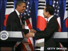 President Obama shakes hands with South Korea's Lee Myung-bak