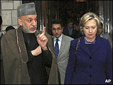 Afghan President Hamid Karzai and US Secretary of State Hillary Clinton in Kabul