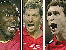 Former Arsenal defenders Sol Campbell (left), Tony Adams (centre) and Martin Keown