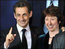 Nicolas Sarkozy and Catherine Ashton on 19 November 2009 in Brussels, Belgium