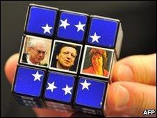 Rubik's cube with photos of Herman Van Rompuy (left), Jose Manuel Barroso and Catherine Ashton