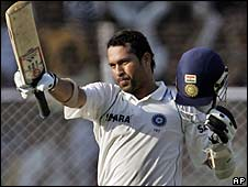 Sachin tendulkar reaches his century in the first Test against Sri Lanka