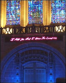 Tracey Emin's neon artwork on display in Liverpool Cathedral (Pic: Liverpool Cathedrl)