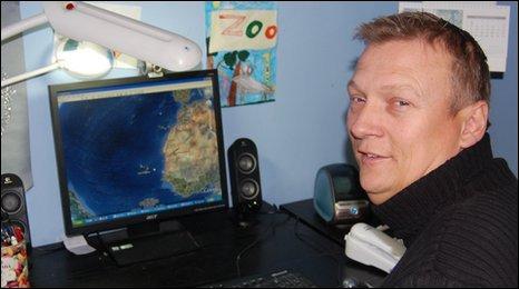Geoff Holt checks his route