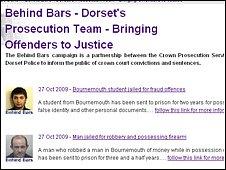 Dorset's Behind Bars website