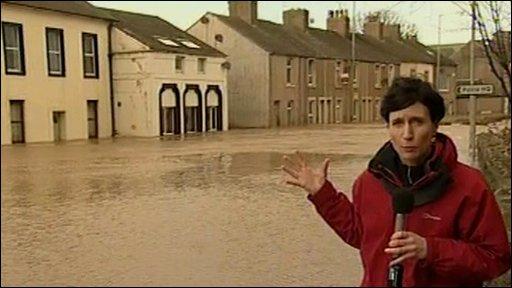 Fiona Trott in flooded Workington street
