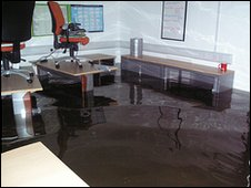 Flooded office at Lodore Falls hotel
