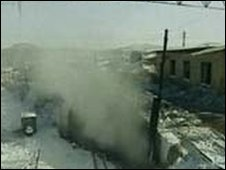 Screen grab of Chinese TV footage showing the mine in Heilongjiang province