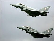 Two Eurofighter Typhoons taking off