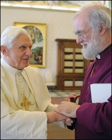 Pope Benedict, left, and the Archbishop of Canterbury