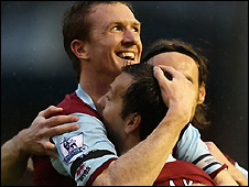 Steve Caldwell (left) celebrates scoring for Burnley