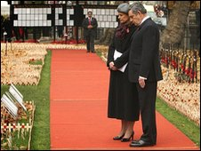 Gordon Brown and wife Sarah in Westminster Abbey's Field of Remembrance
