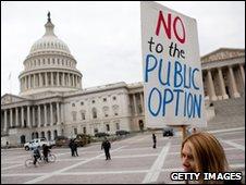 Protester against the Senate healthcare bill outside Capitol Hill on 21 November 2009