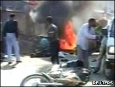 Video grab of aftermath of bomb blast in Assam, 22 November 2009