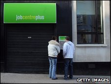 People standing outside a Jobcentre Plus