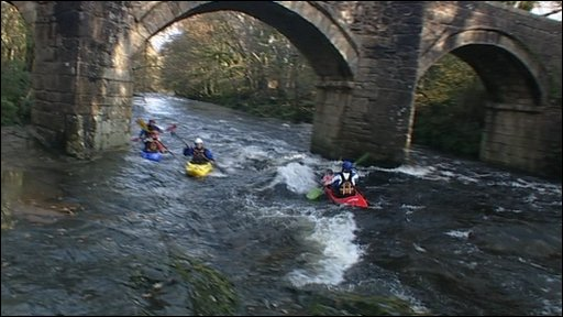 Canoeists on the River Dart