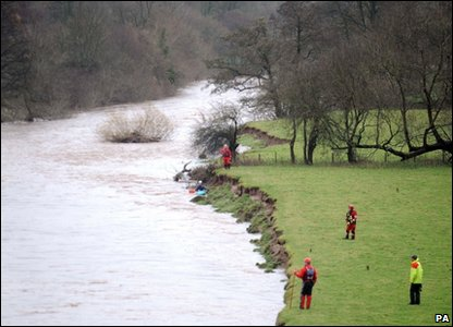 A search and rescue team on the River Usk in Brecon