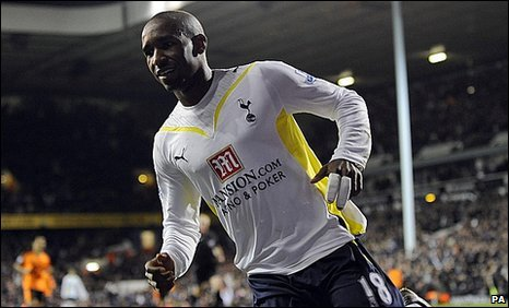 Jermain Defoe celebrates scoring for Tottenham