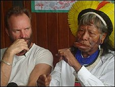 Sting with Chief Raoni