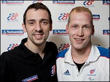Actor Ralf Little and Paralympic champion Sascha Kindred. Pic: Mark Lomas - DSE Swimming