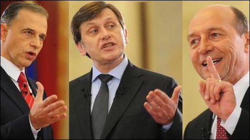 Romanian presidential candidates Mircea Geoana (L), Crin Antonescu (C) and incumbent Traian Basescu (R)