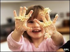 Girl with mucky hands