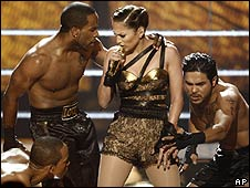 Jennifer Lopez performing at the American Music Awards