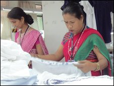 Women in Dehli making t-shirts
