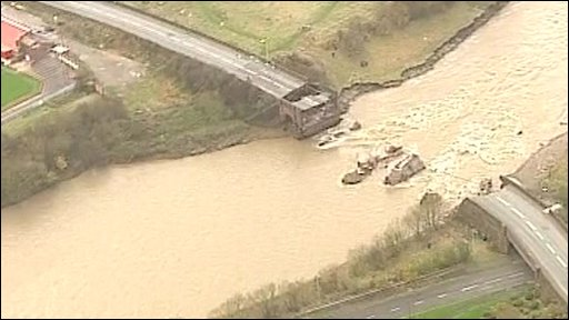 Collapsed bridge in Workington