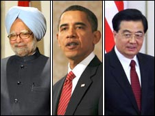 Manmohan Singh, Barack Obama and Hu Jintao
