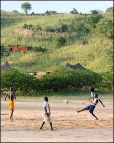boys playing football in the Nuba mountains