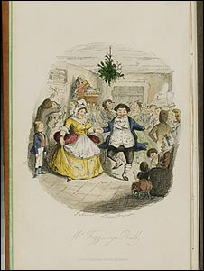 John Leech, Mr. Fezziwig's Ball, original watercolor illustration for Charles Dickens's Christmas Carol, first edition, 1843. From the Morgan Library and Museum