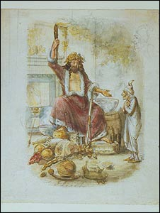Original watercolour from the first edition of A Christmas Carol by John Leech, 1843, from the Morgan Library and Museum's collection. It shows the Third Visitor or the Ghost of Christmas Present