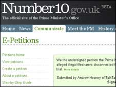 Screengrab of Number 10 website, BBC