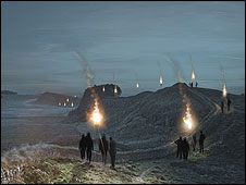Artist's impression of illuminations on Hadrian's Wall
