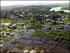 Flooded fields near Liberia's capital Monrovia